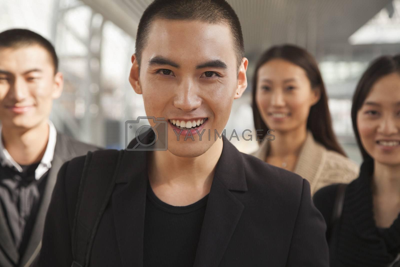 Portrait of Young Man on Train Platform