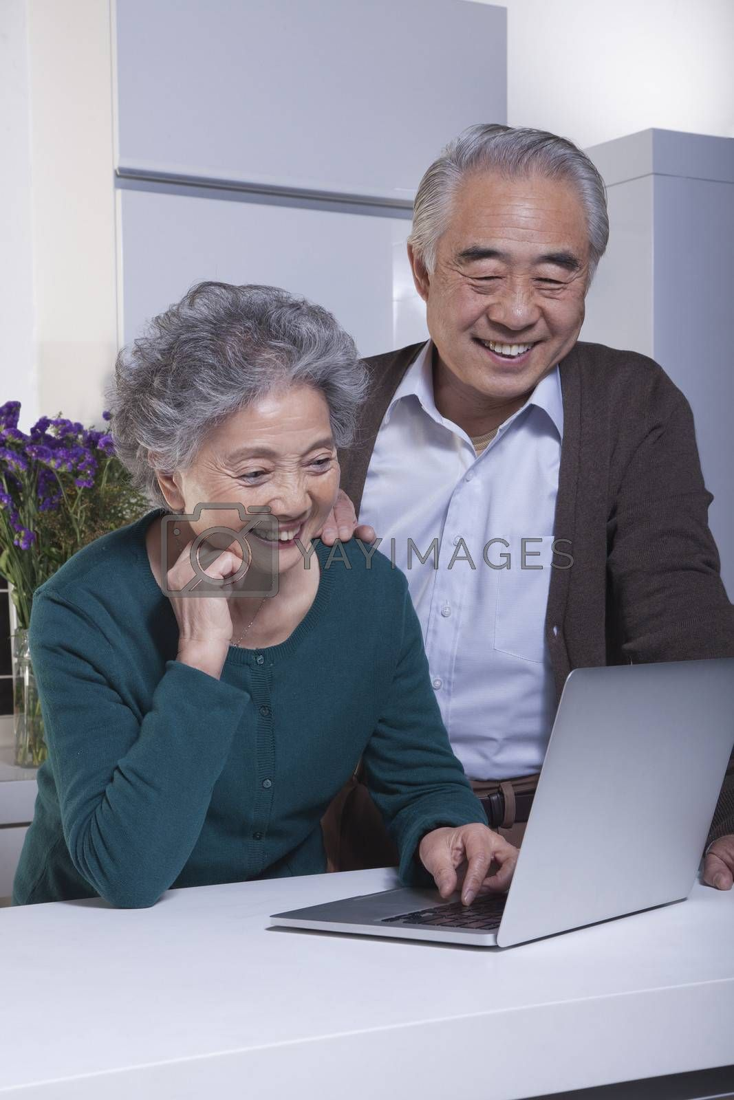 Mature Couple Looking at Laptop in the Kitchen