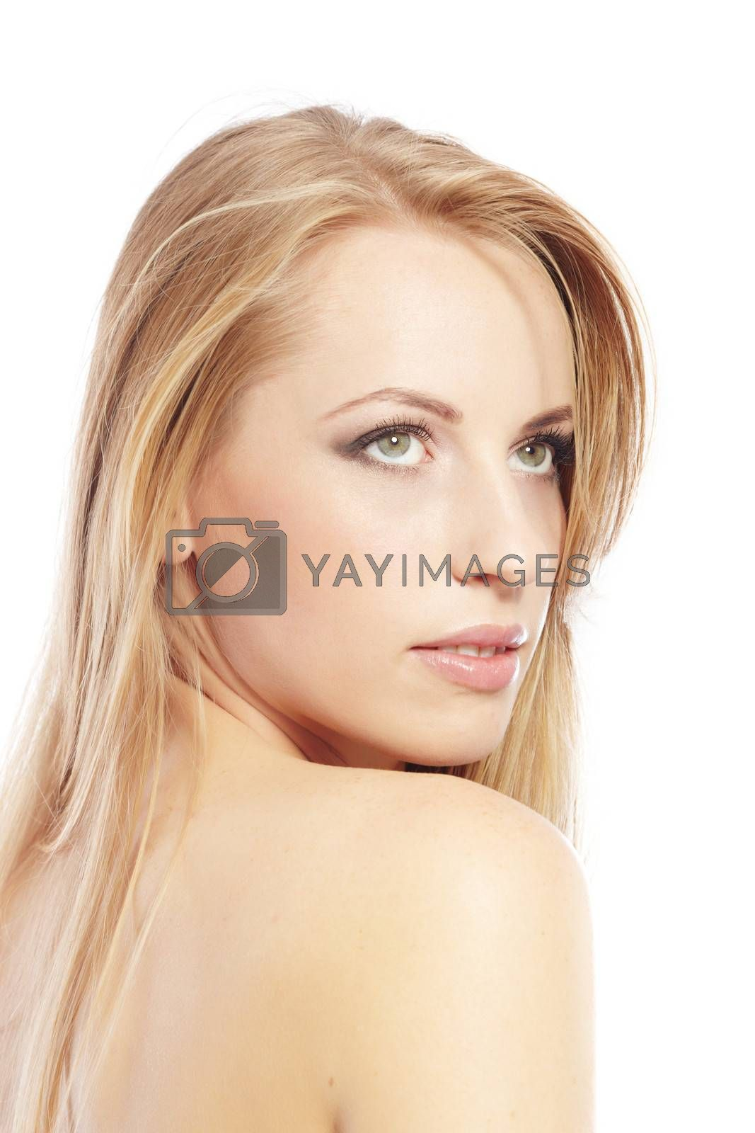 Sexy lady with perfect makeup and good skin on a white background