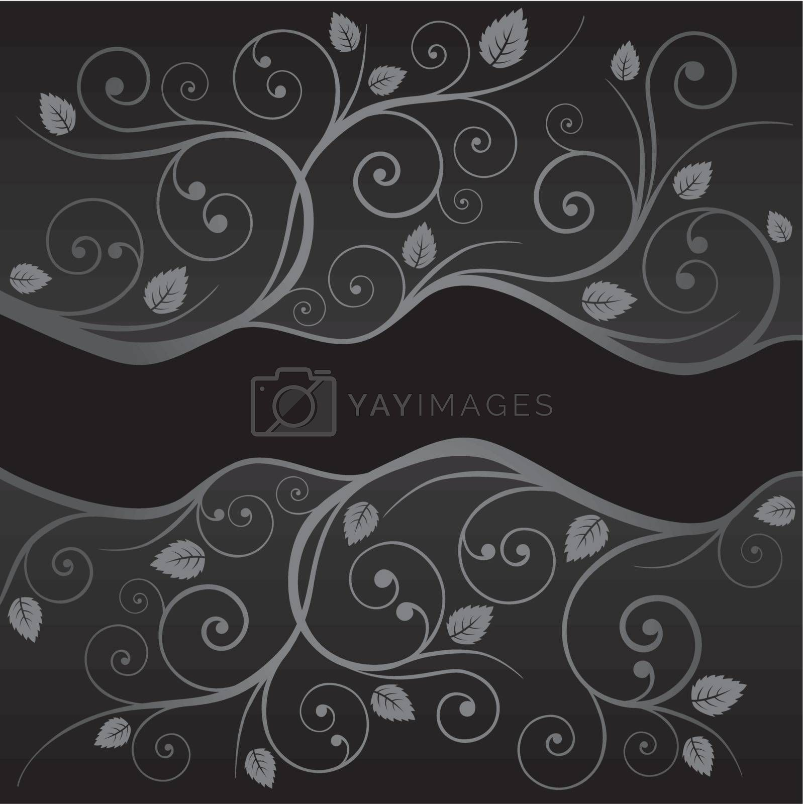 Luxury black and silver leaves and swirls borders on black background. This image is a vector illustration.