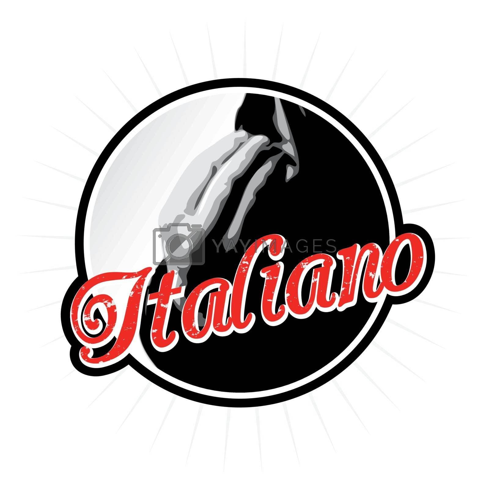 Italians talk with their hands as depicted in this Italian label or icon design.