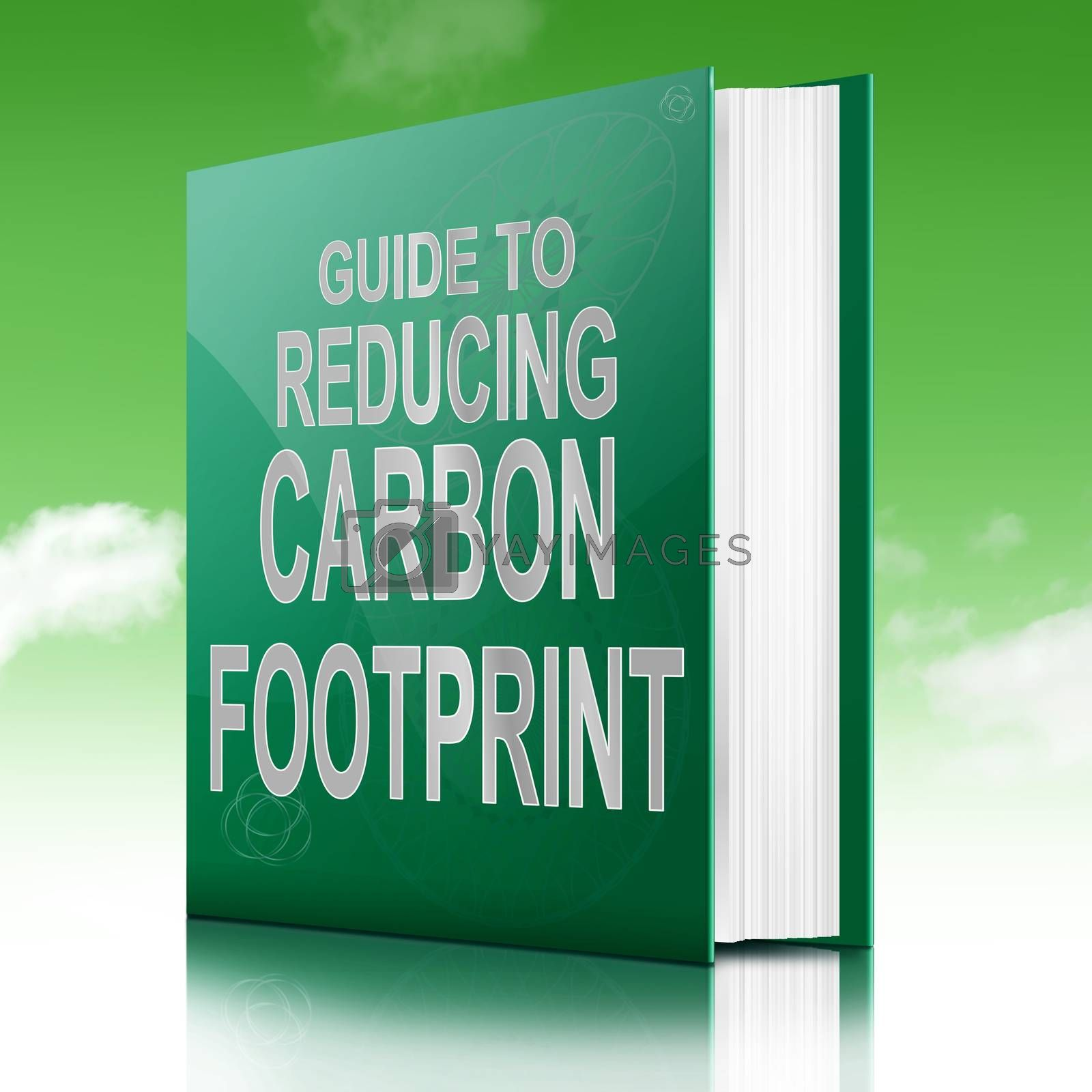 Illustration depicting a book with a carbon footprint concept title. Sky background.
