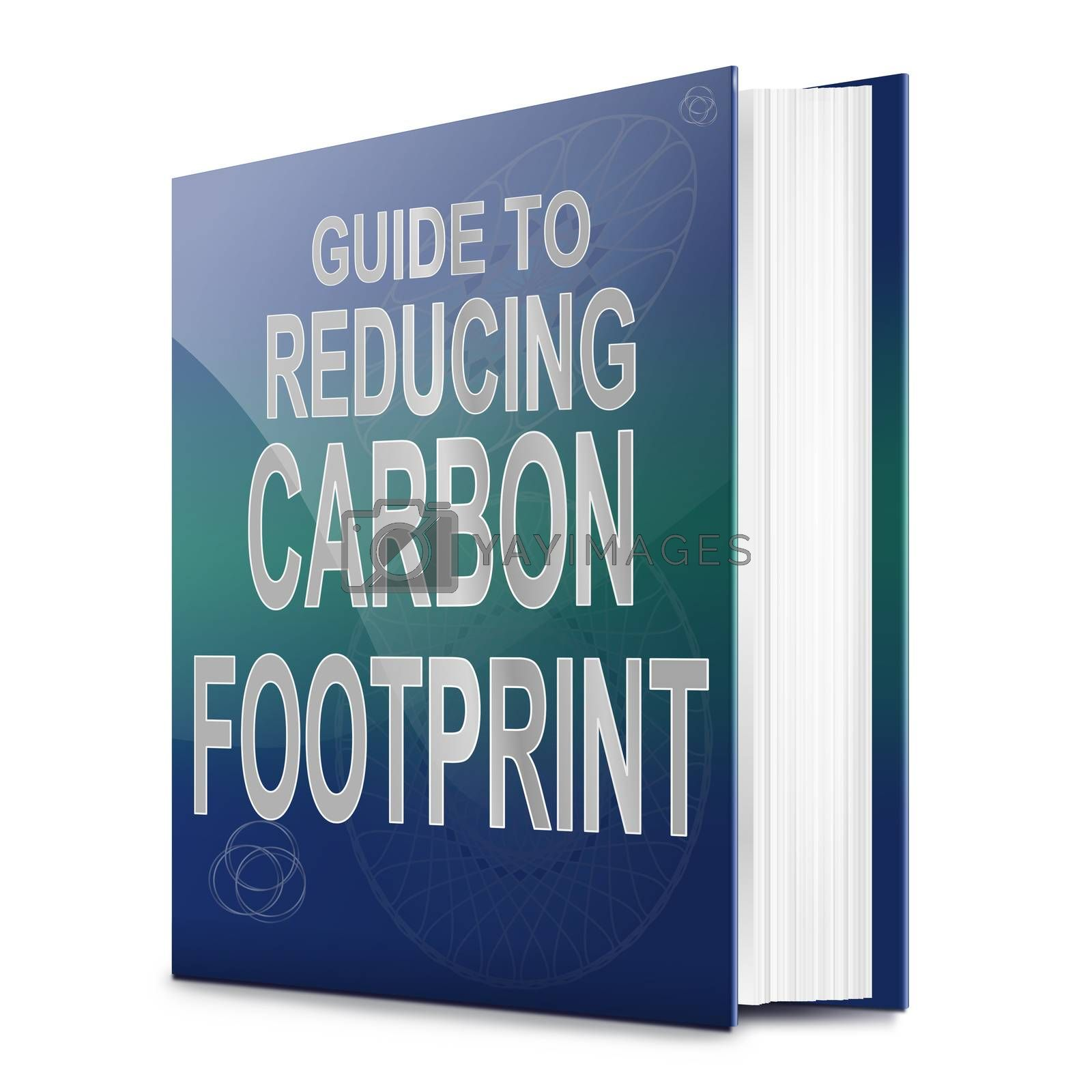 Illustration depicting a text book with a carbon footprint concept title. White background.