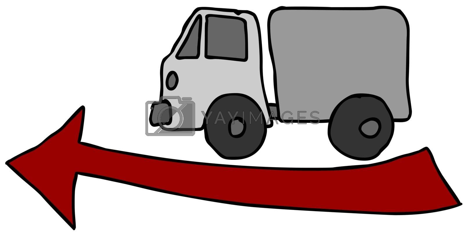 truck and red arrow - sketchy illustration