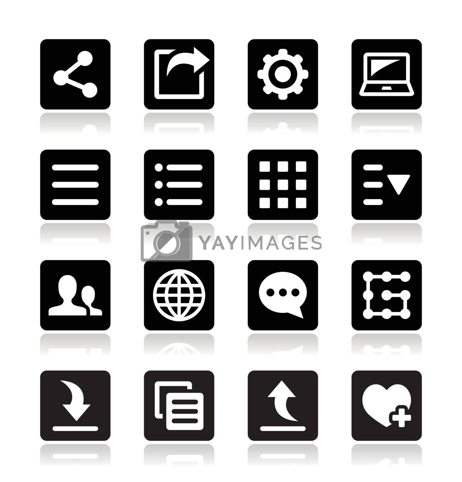 Vector icons set for web, computer, mobile device settings
