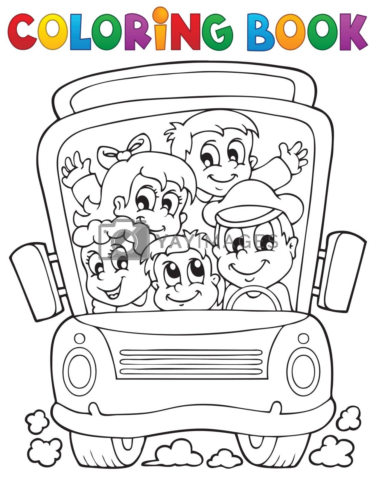 Coloring book school bus theme 1 - eps10 vector illustration.