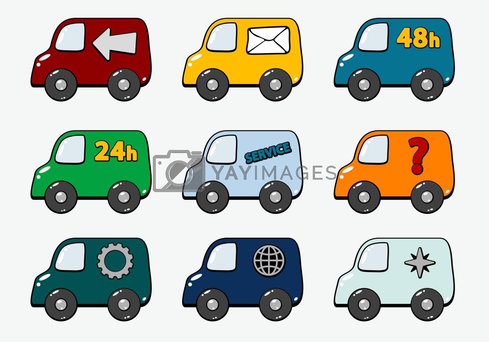 set of trucks with transportation symbols - illustration