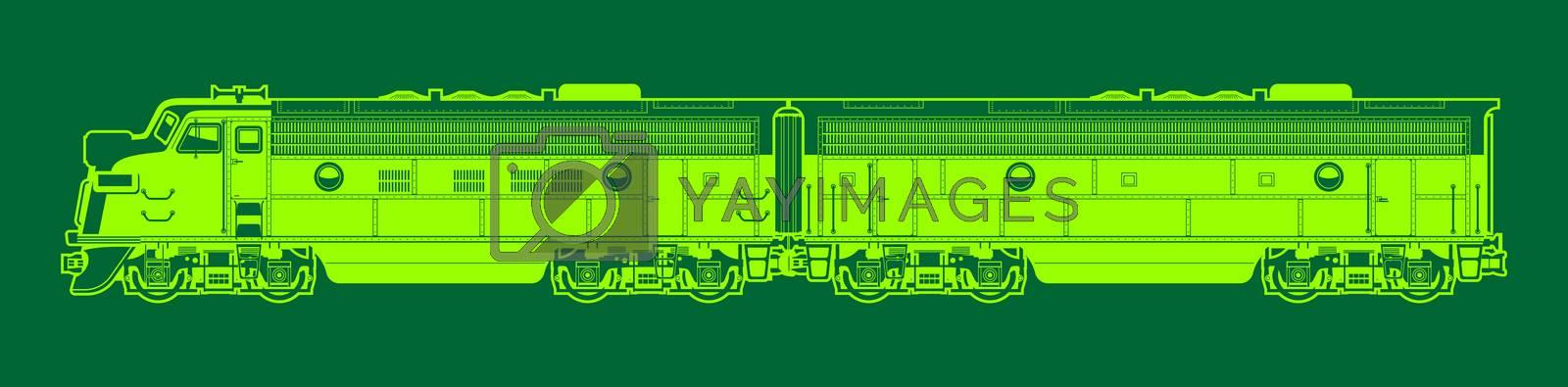 vector illustration of a diesel locomotive.