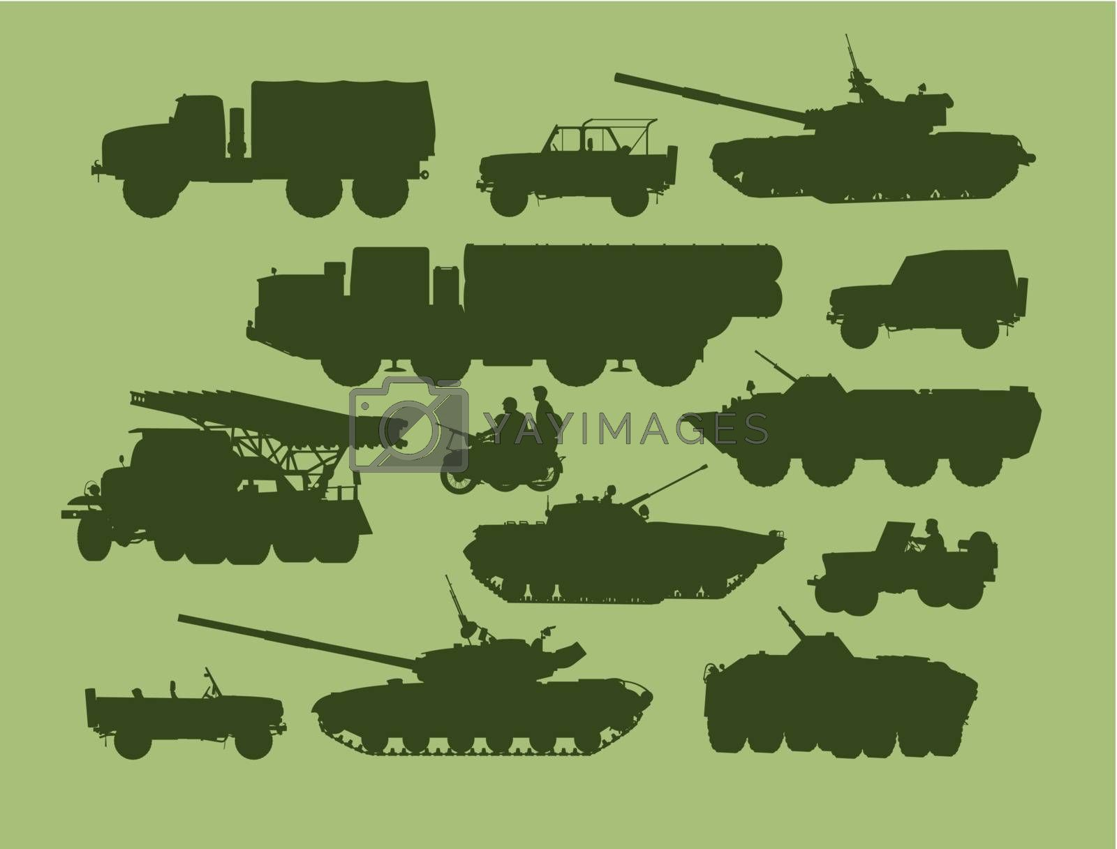 set of vector illustrations of army transport