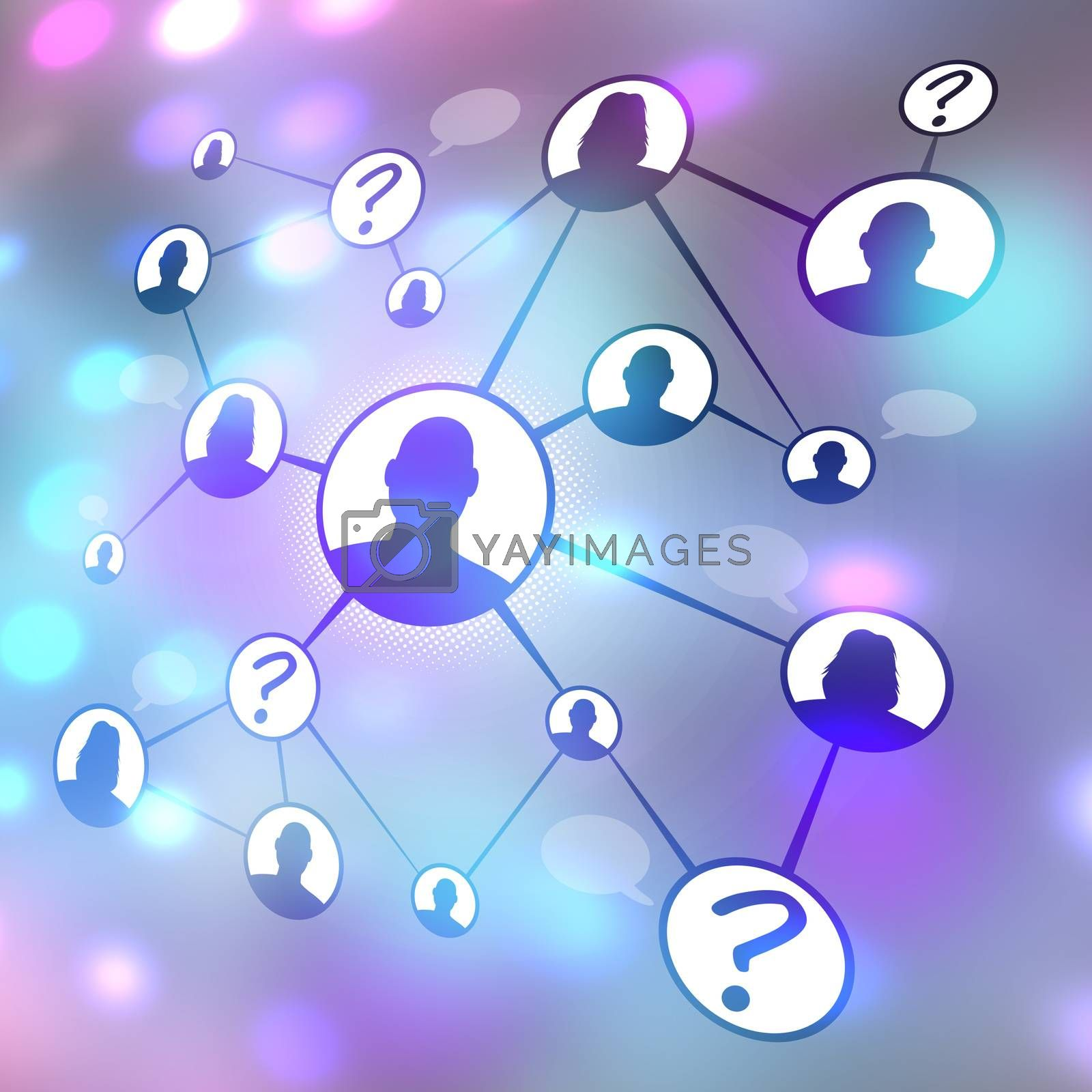 A flow chart diagram of different men and women connecting together via social media or social networking.  Great for word of mouth referral marketing or online dating concepts.