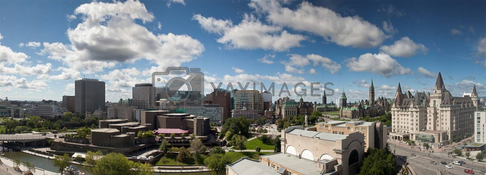 Panorama view of Parliament Buildings and downtown skyline, Ottawa Canada