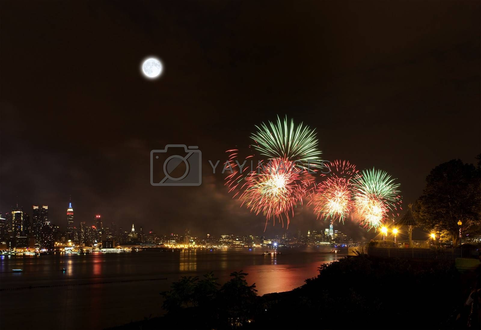 The July 4th firework over Hudson River in New York City