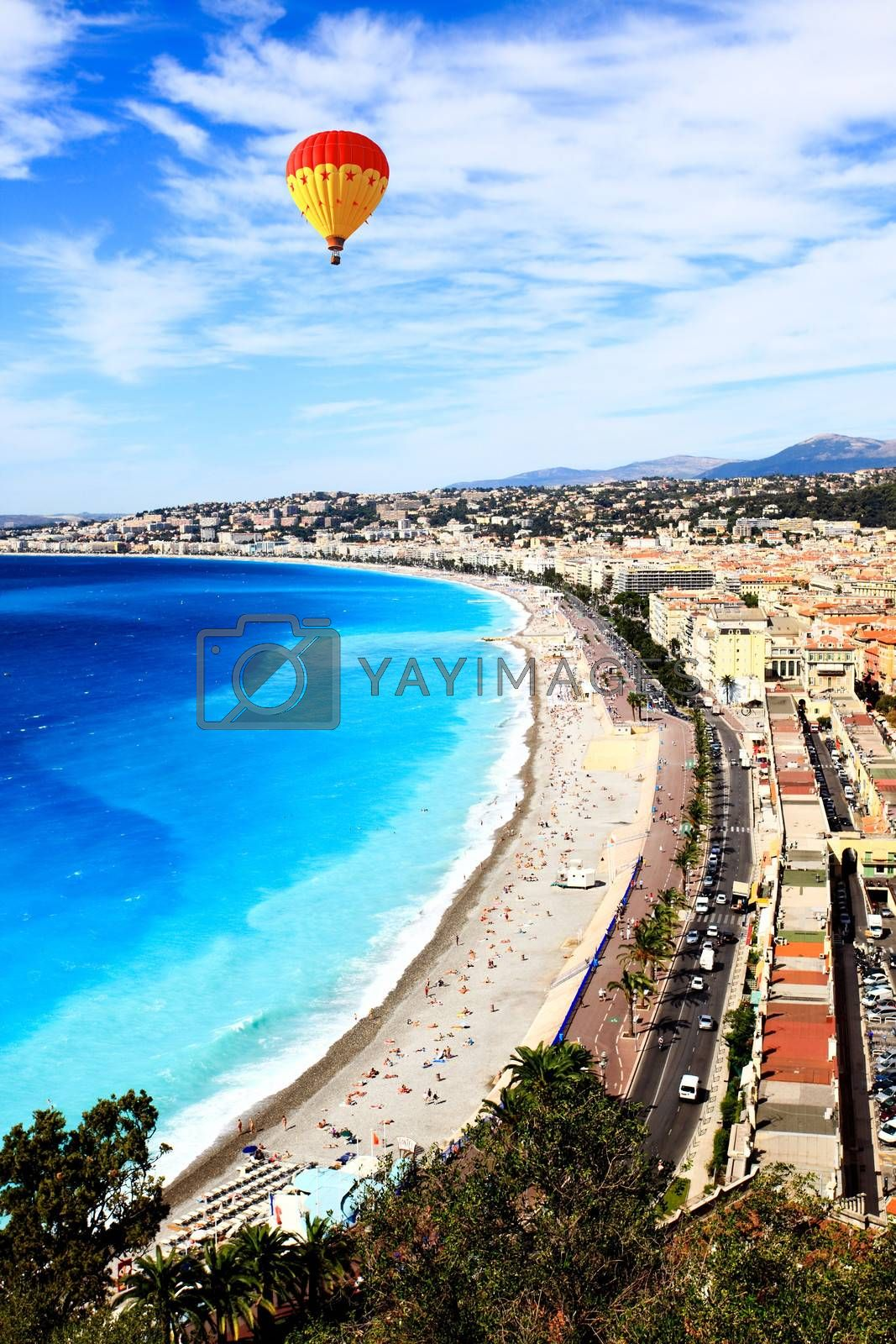 aerial view of beach in Nice France