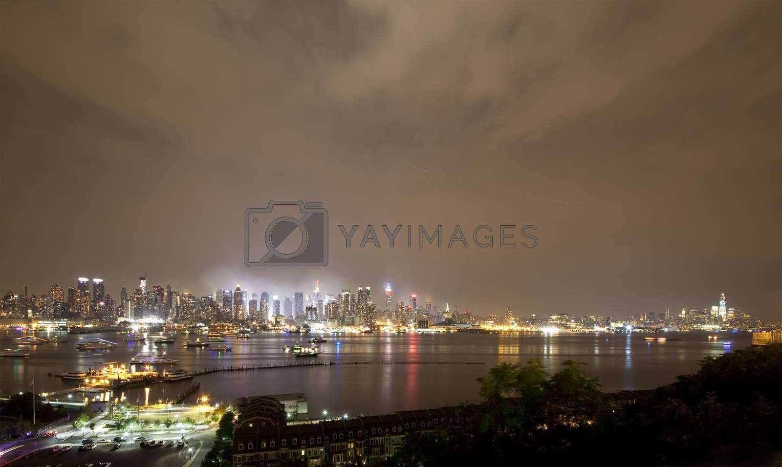 The panoramic view of the complete Manhattan Island at night from New Jersey side