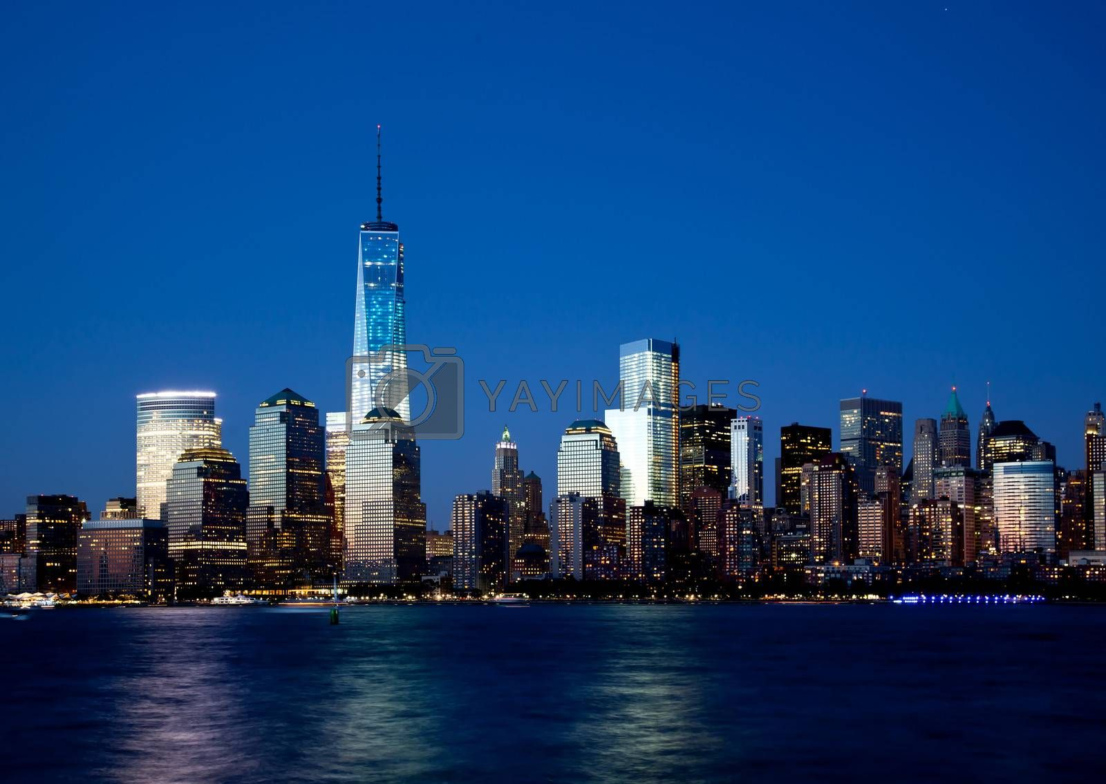 The new Freedom Tower and Lower Manhattan Skyline At Night