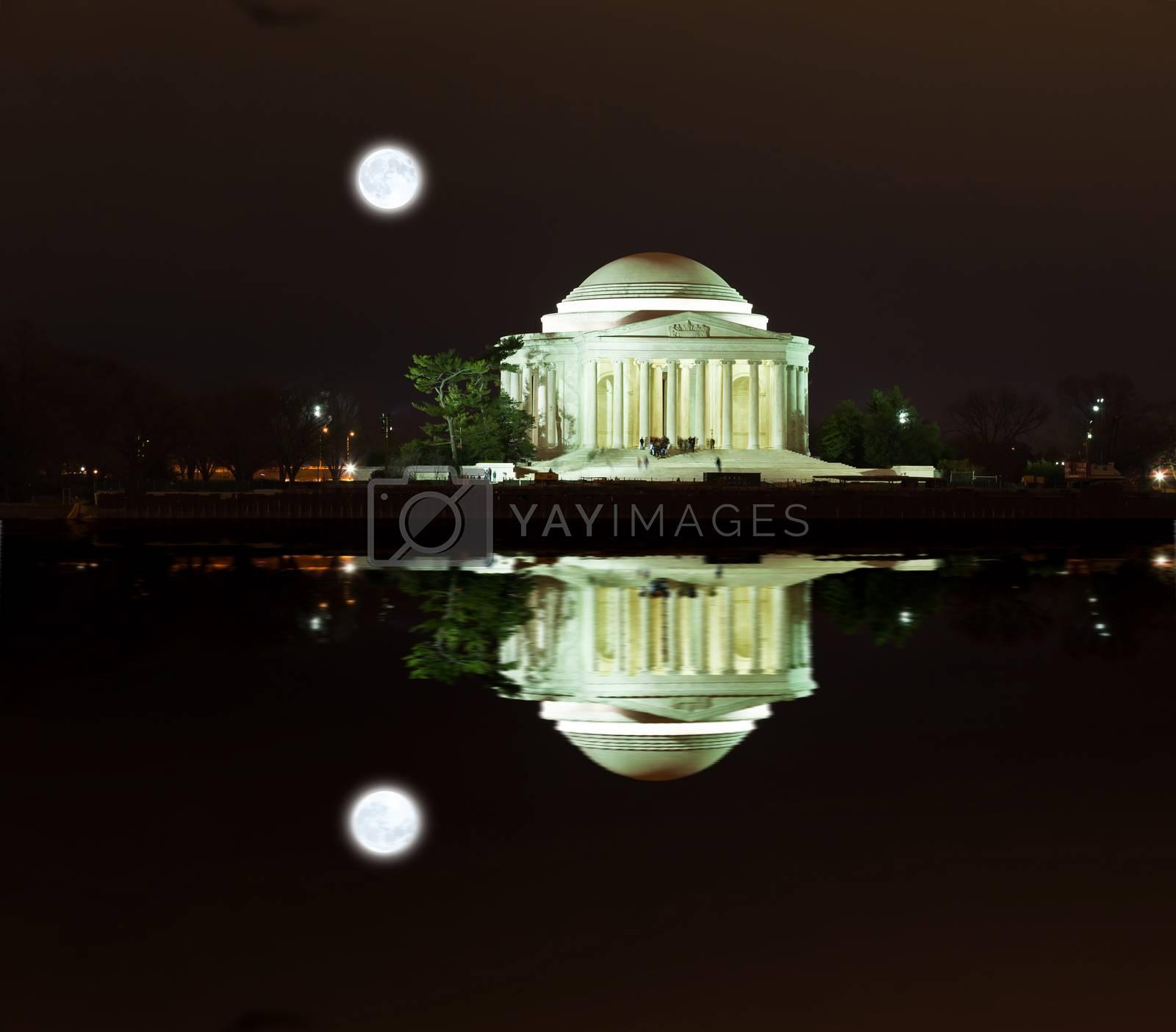 Jefferson Memorial at night in  Washington DC