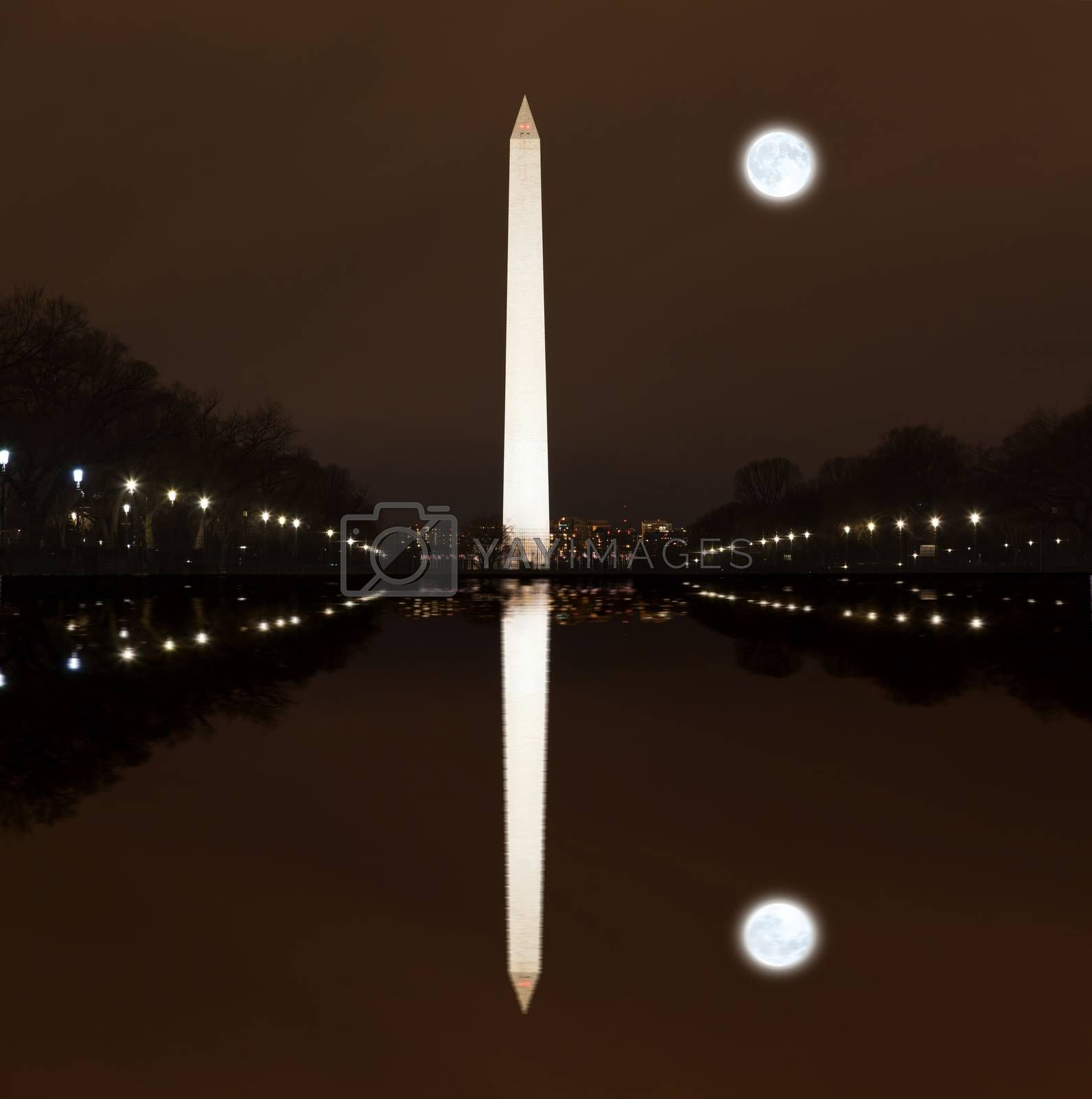 Washington Memorial at Night in Washington DC
