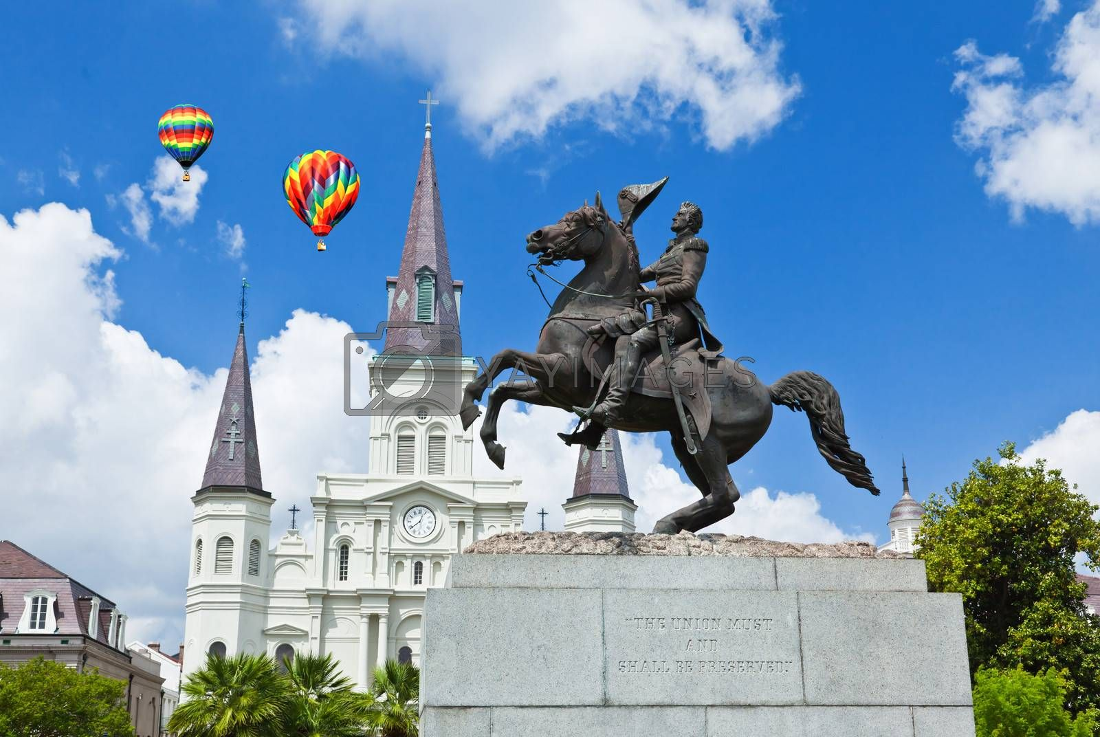 Royalty free image of Saint Louis Cathedral and statue of Andrew Jackson  by gary718