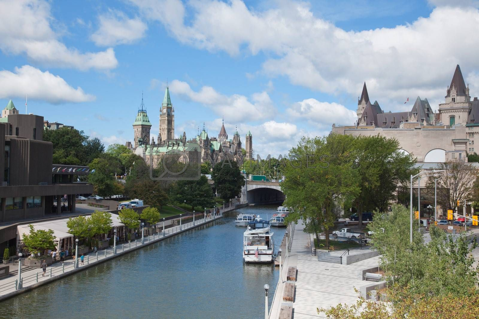The Parliament building of Canada and Rideau Canal