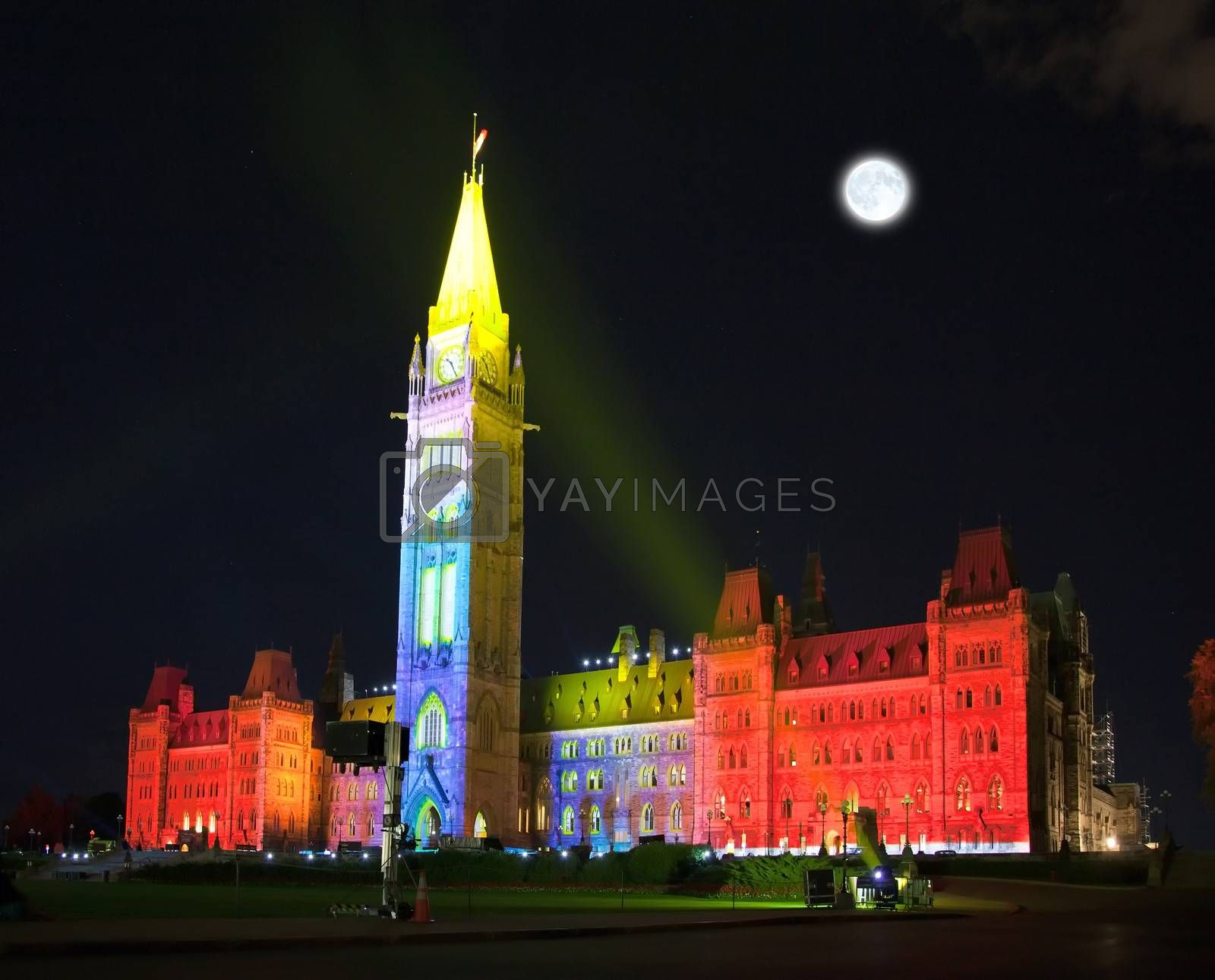 The beautiful illumination of the Canadian House of Parliament at night