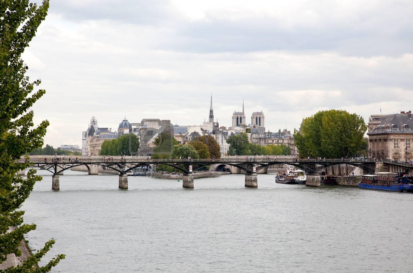 The city view and Notre Dame de Paris, France