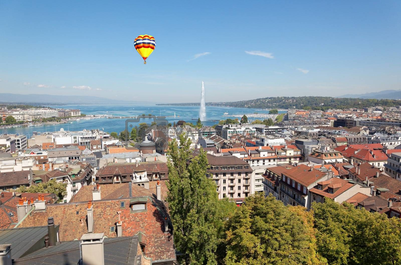 The city of Geneva in Switzerland, a general and aerial view