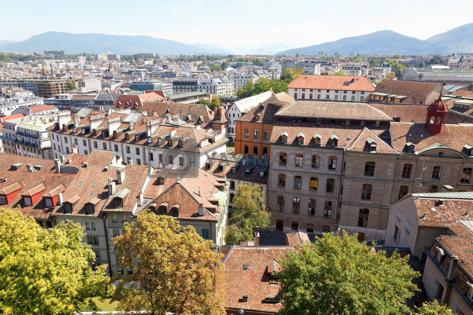 The city of Geneva in Switzerland - aerial view