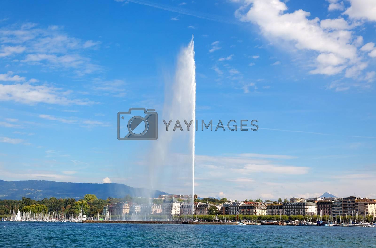 Geneva water jet on Lake Leman