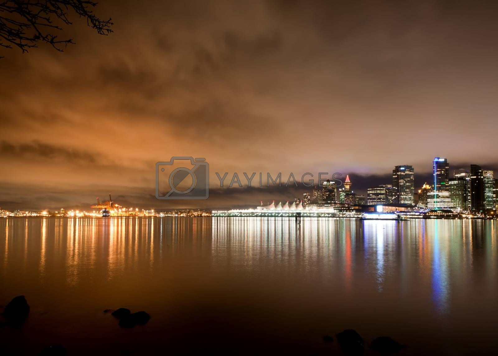 The Vancouver downtown skyline at night, Canada BC