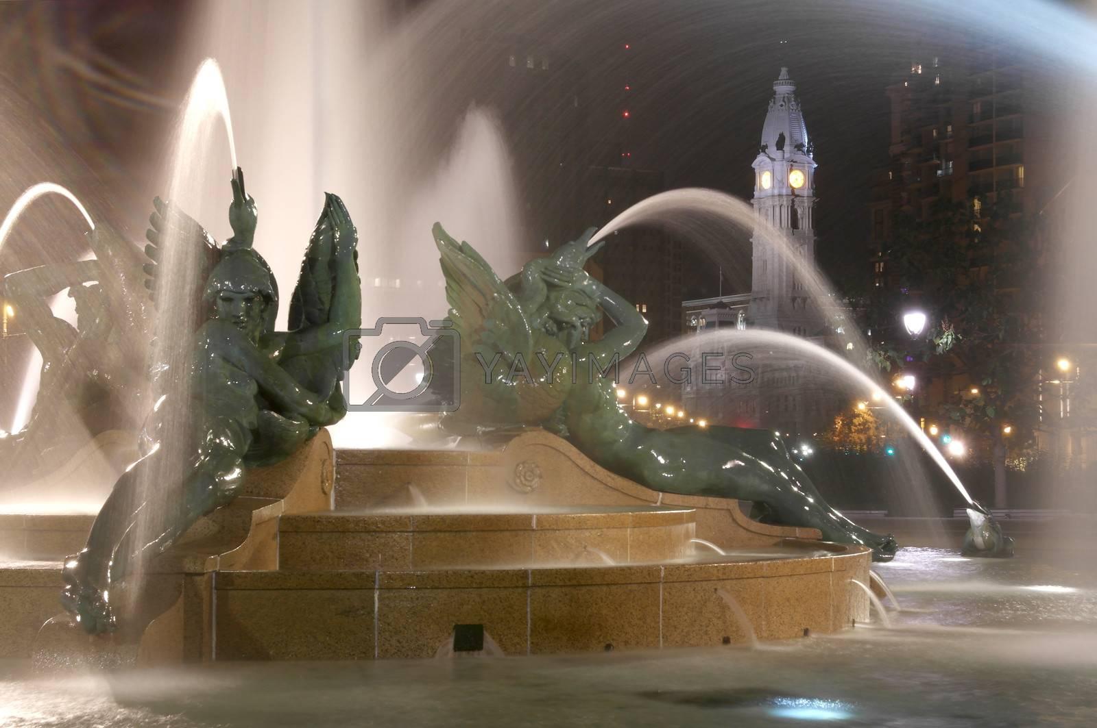 Swann memorial fountain in downtown Philadelphia at night