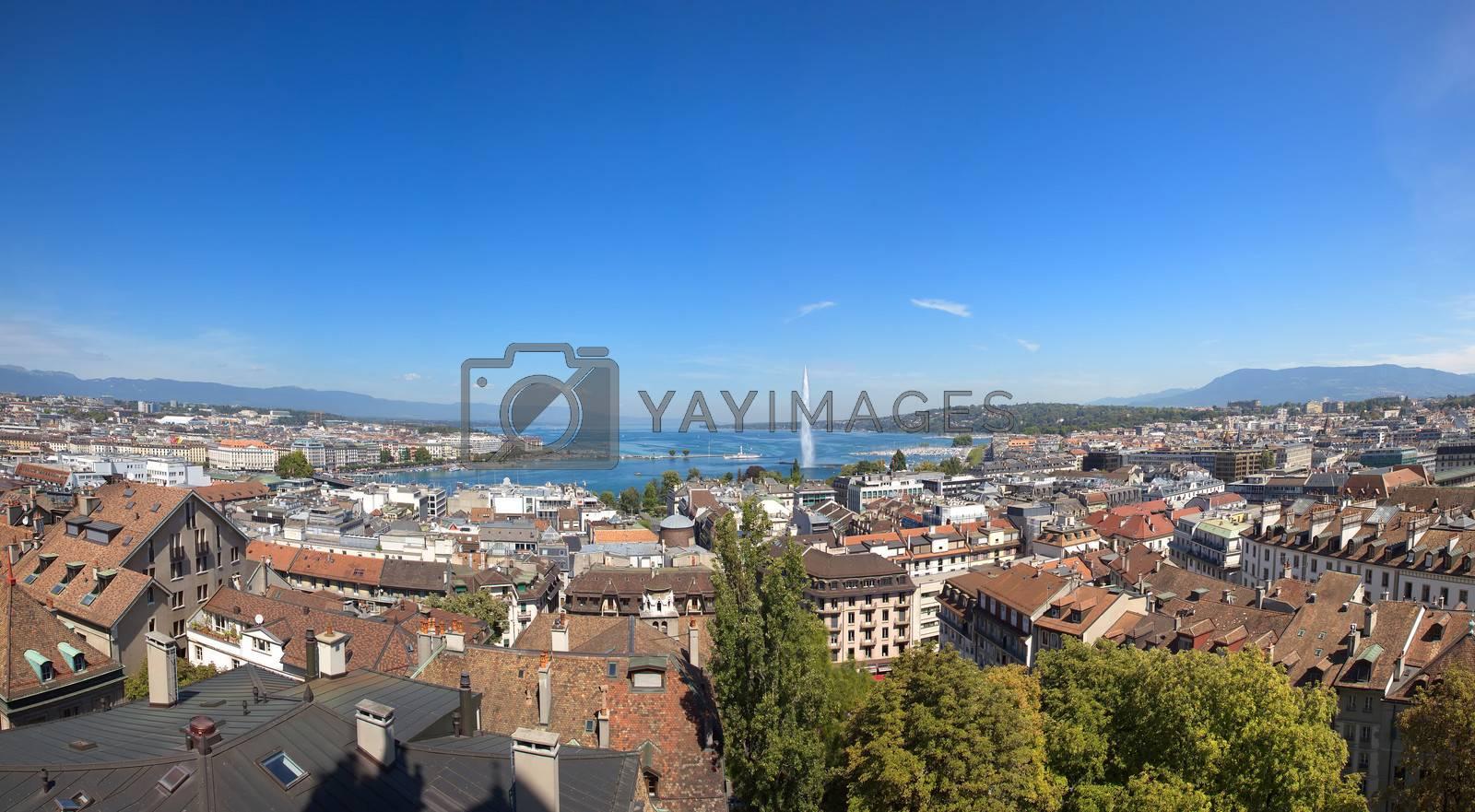 A Panoramic View of Geneva and Lake Leman