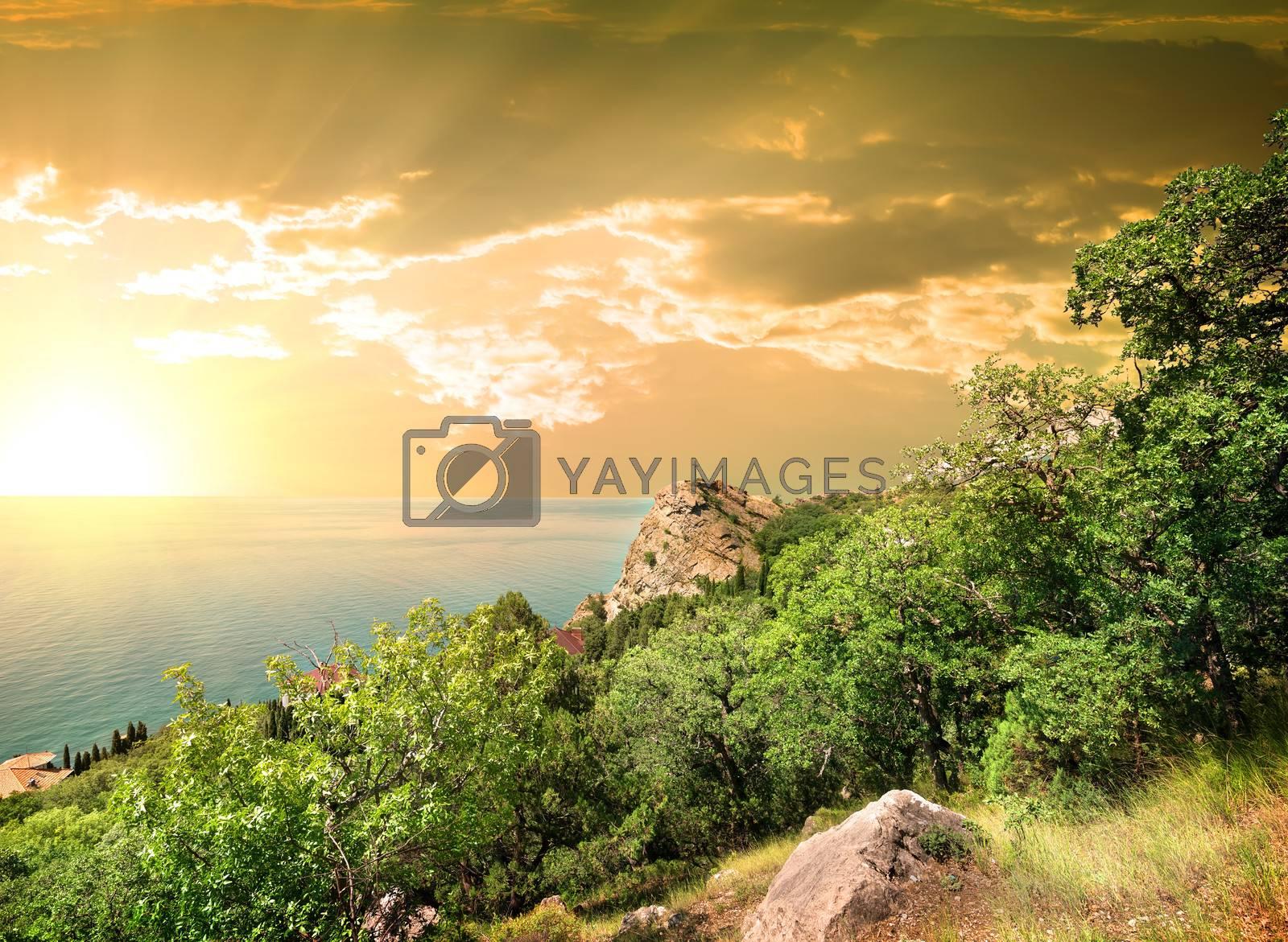 Mountain Iphigenia at dawn in Kastropol in Crimea