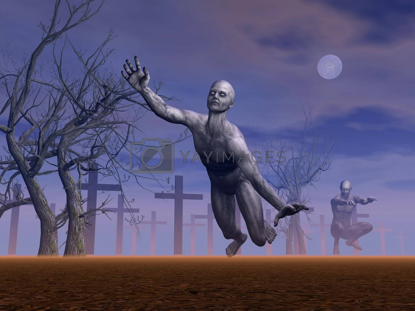 Two zombies moving in a cemetery next to dead trees by grey full moon night