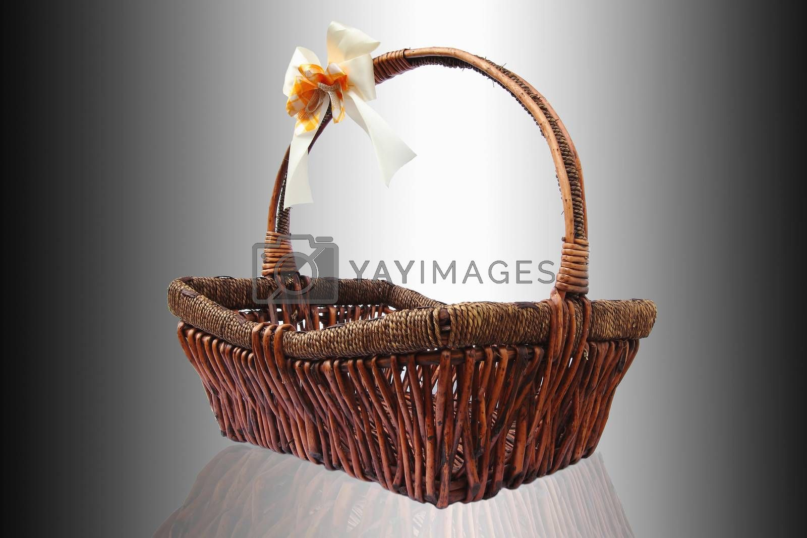 Wicker basket isolute white Background