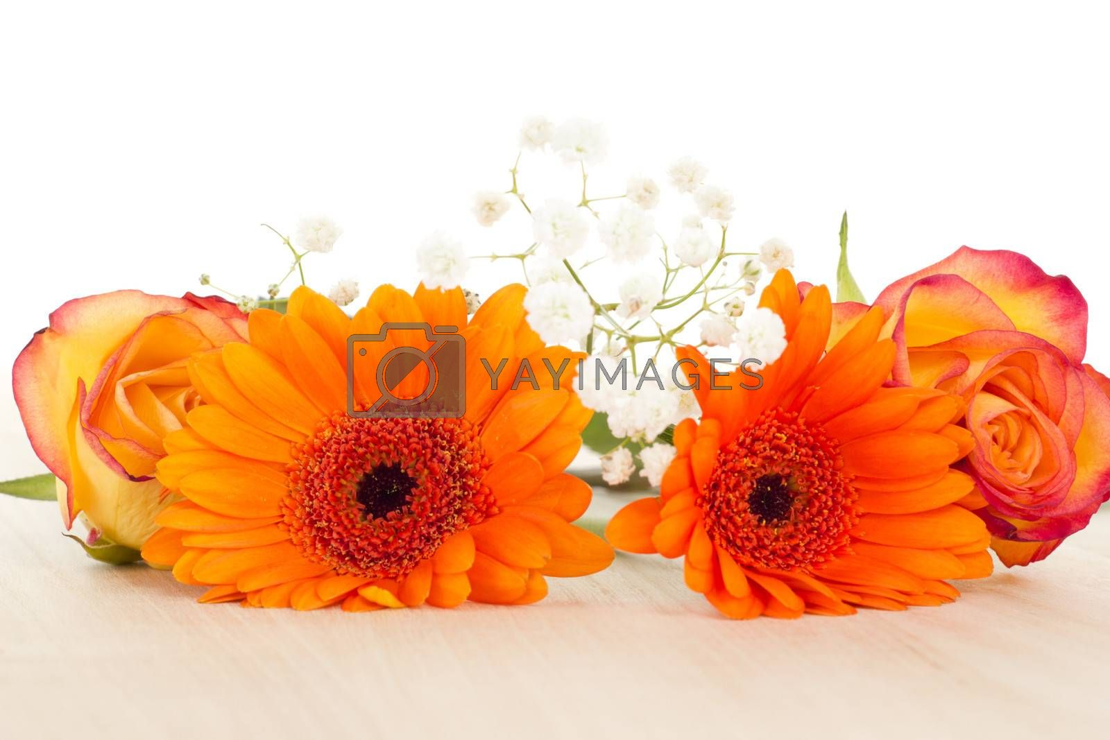 Beautiful decoration of some colorful flowers