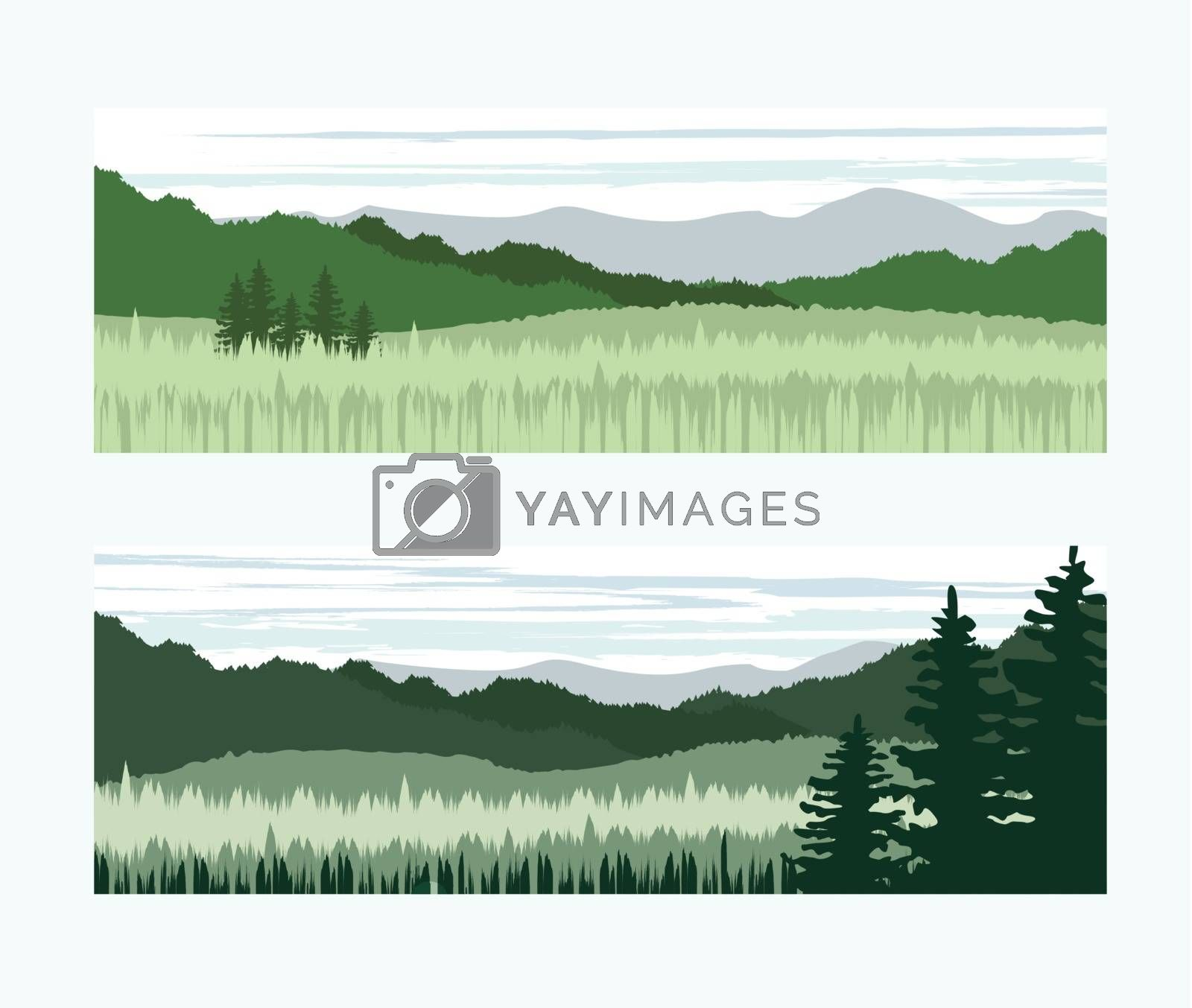 Two banners with the background landscape and trees