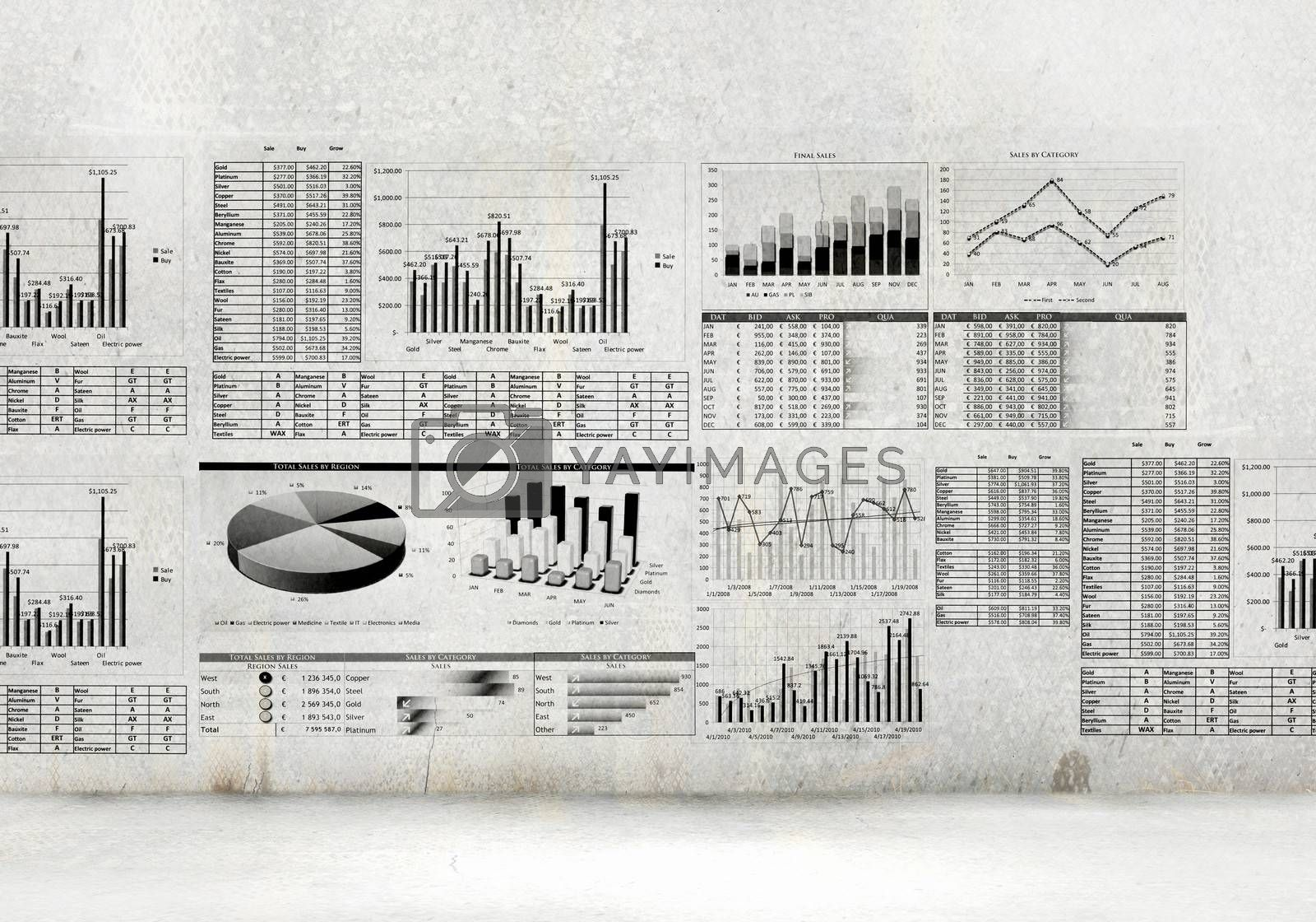 Financial concept image with hand drawn diagrams and graphs