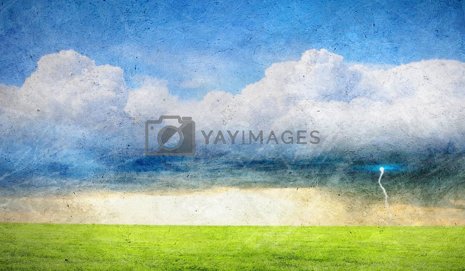 Old painting with a summer countryside landscape