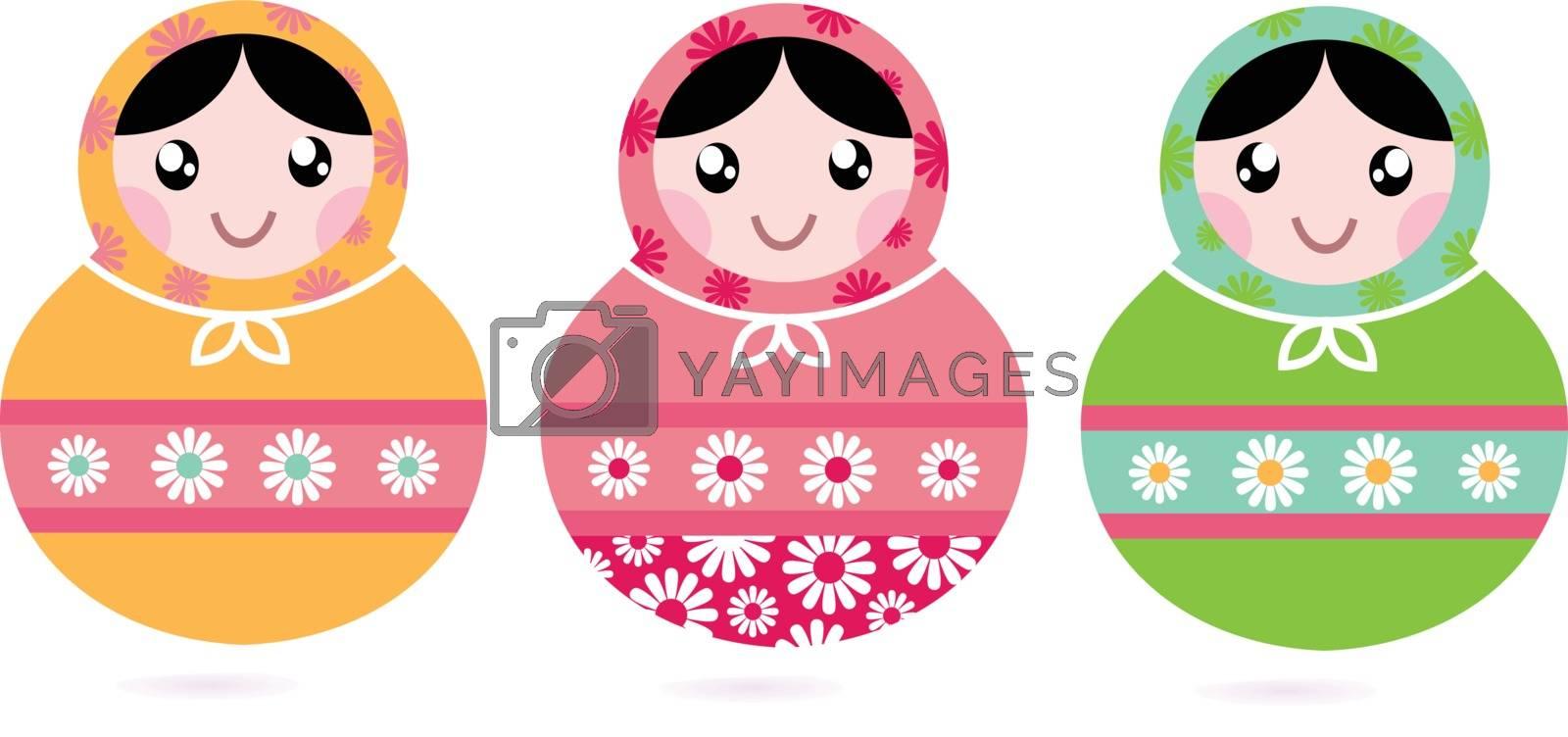 Traditional floral Russian Matryoshka dolls. Vector Illustration