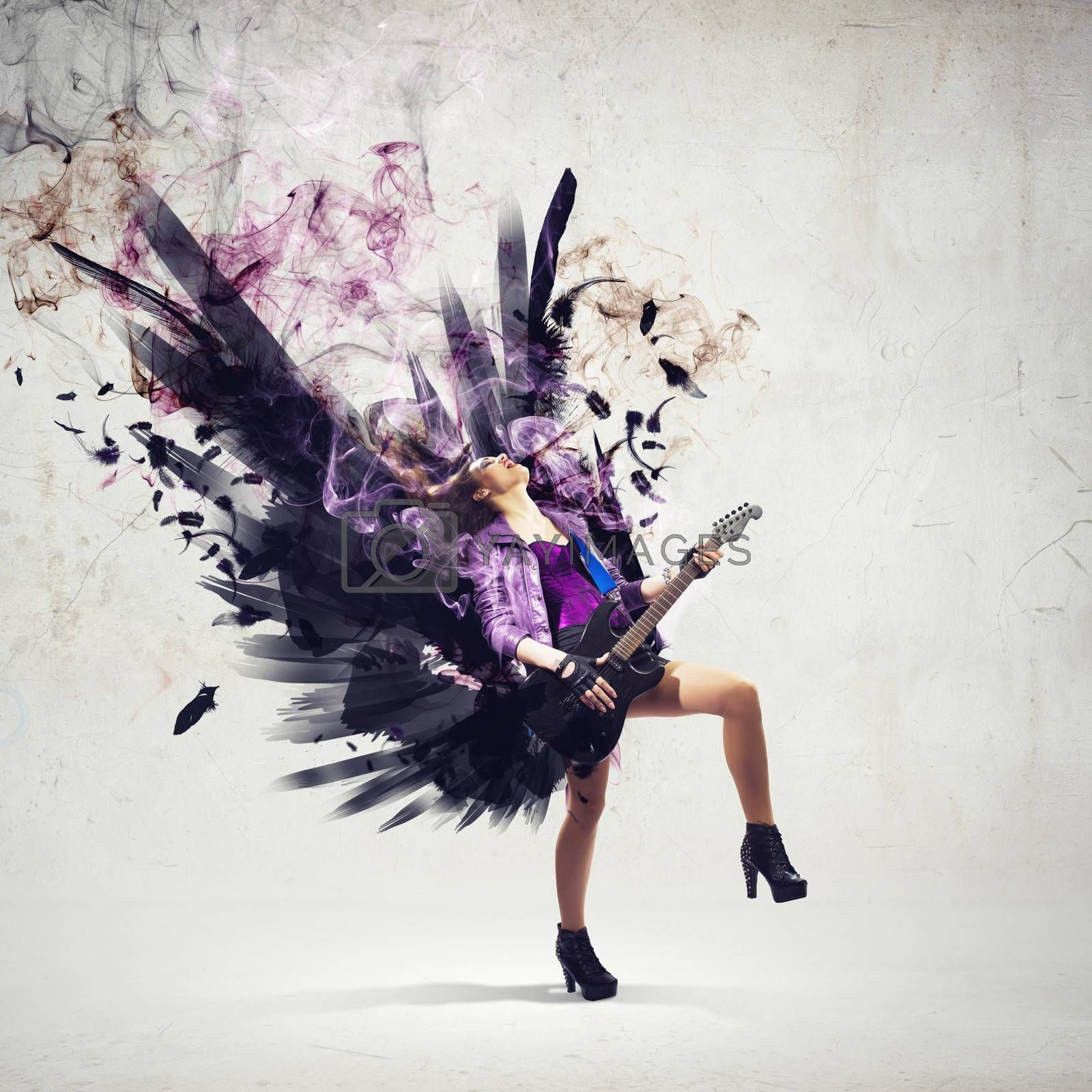 Rock passionate girl with black wings by Sergey Nivens