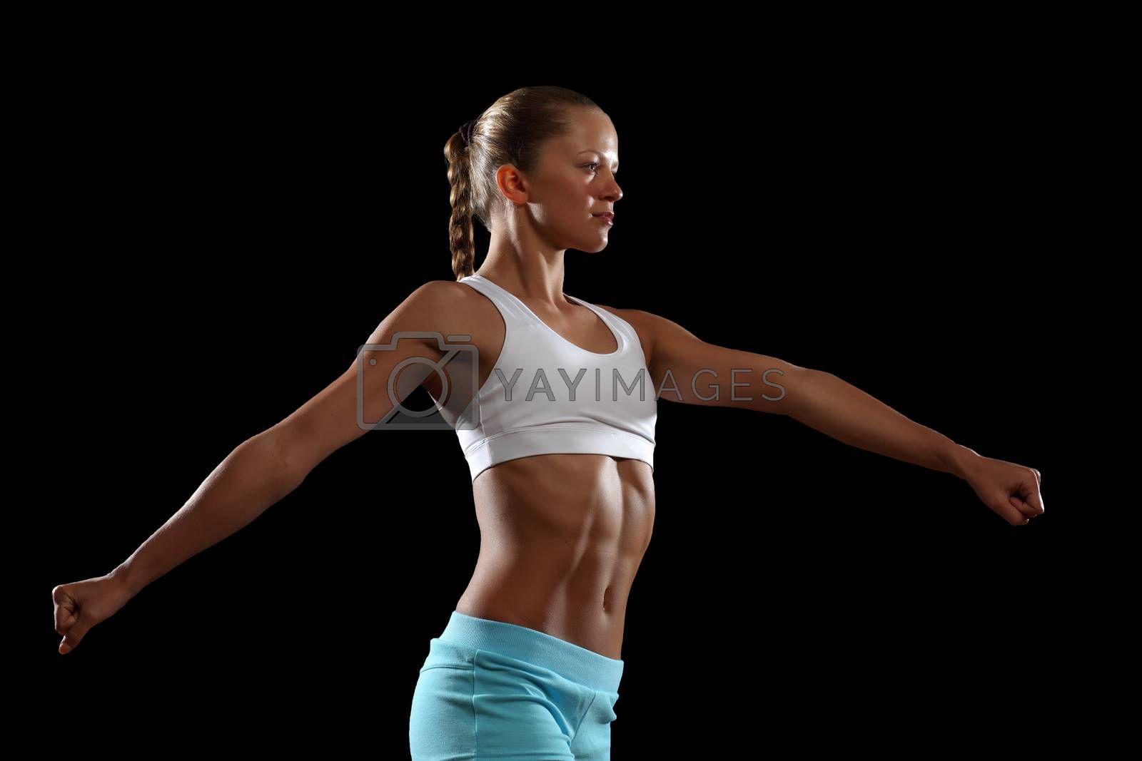 Fitness woman smiling by Sergey Nivens
