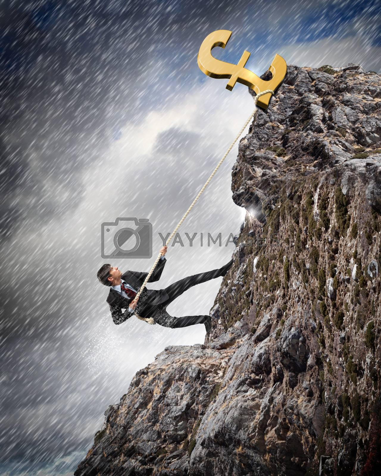 busiessman climbing mountain by Sergey Nivens