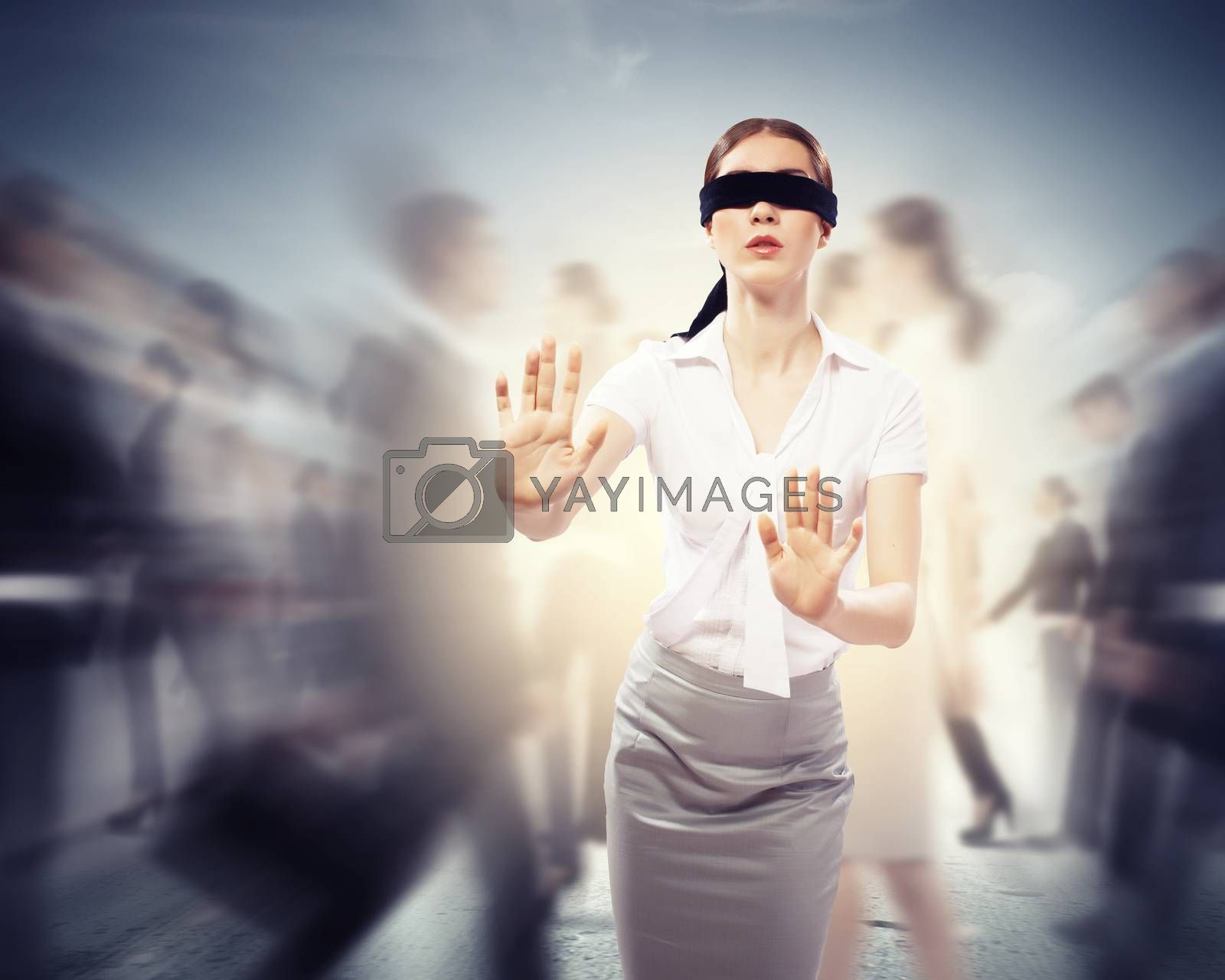 Businesswoman in blindfold among group of people by Sergey Nivens