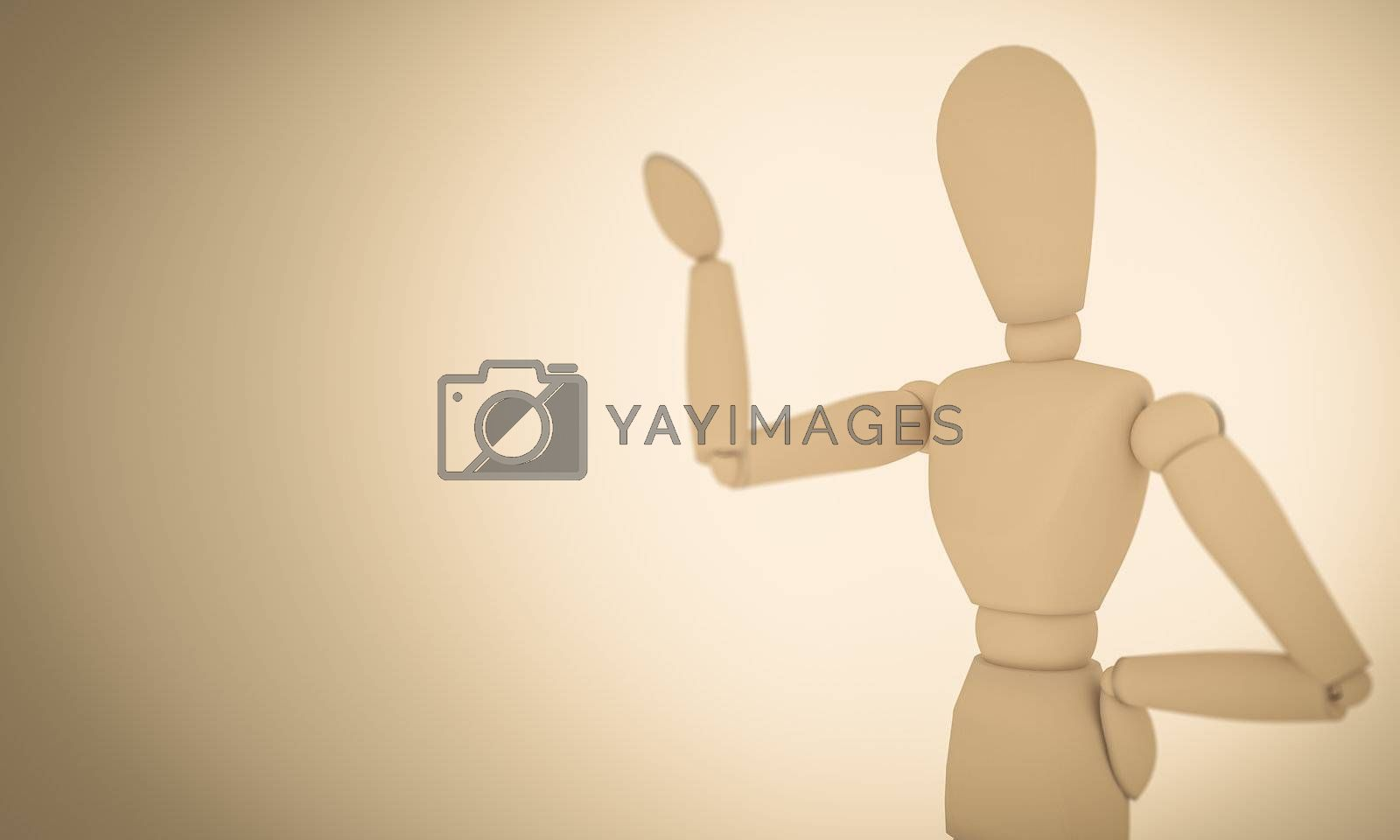 A CGI image of a wooden mannequin posing on a light brown background.