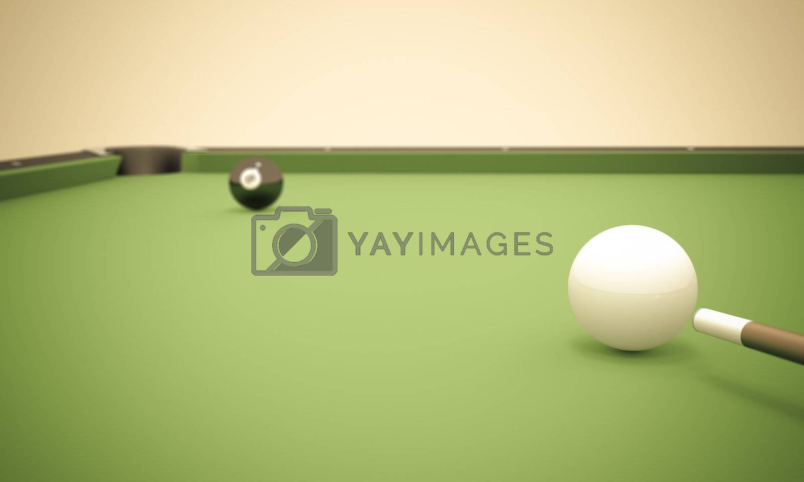 A white ball in the center of a pool table aiming at the 8 ball near the left corner pocket.