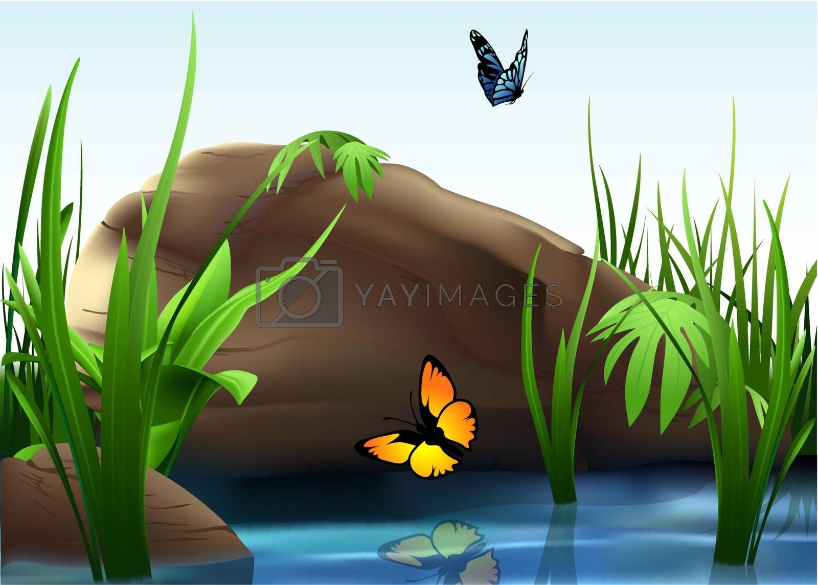 Nature - River And Boulder, Background Cartoon Illustration, Vector