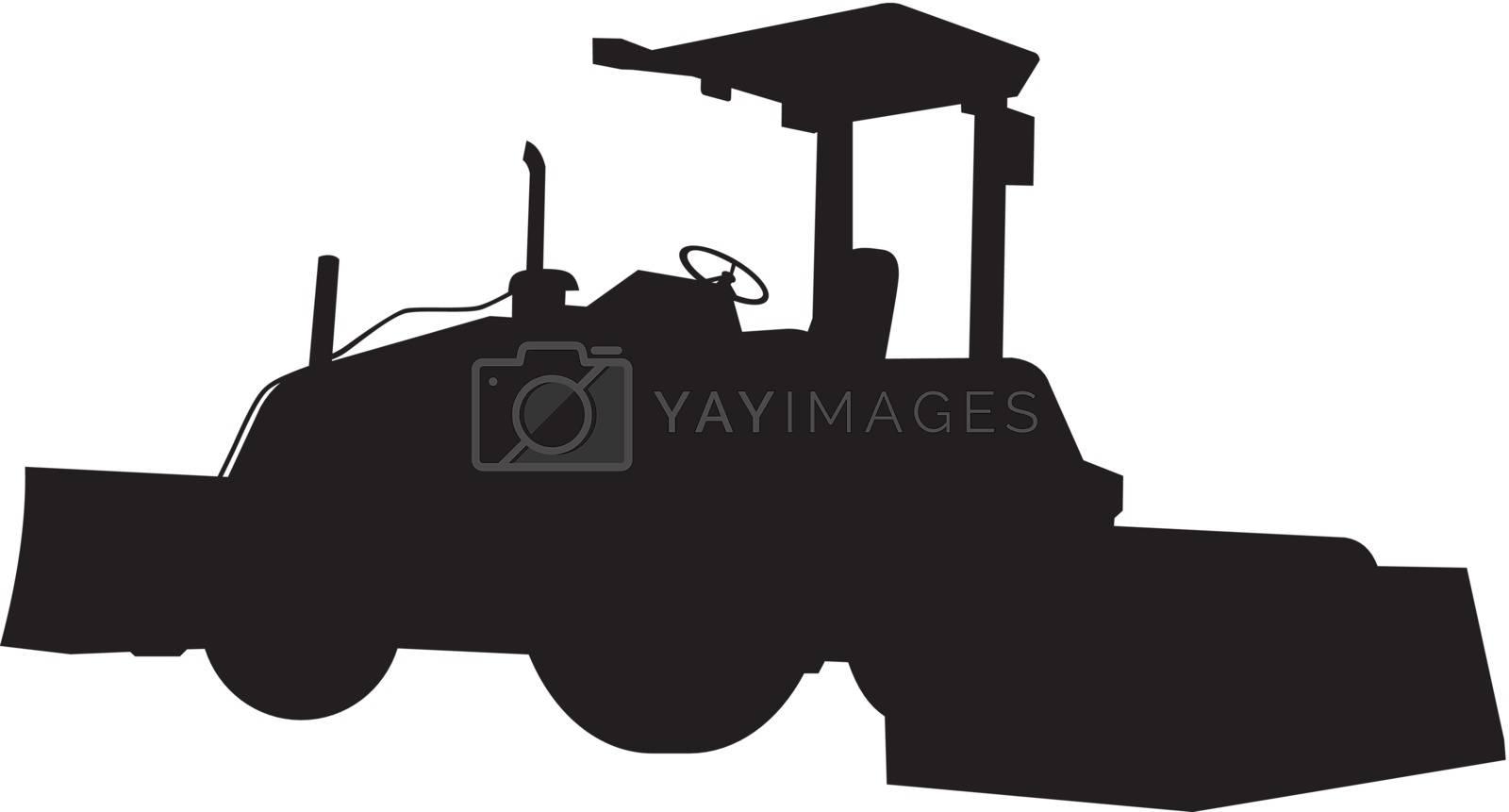 Illustration of bulldozer silhouette