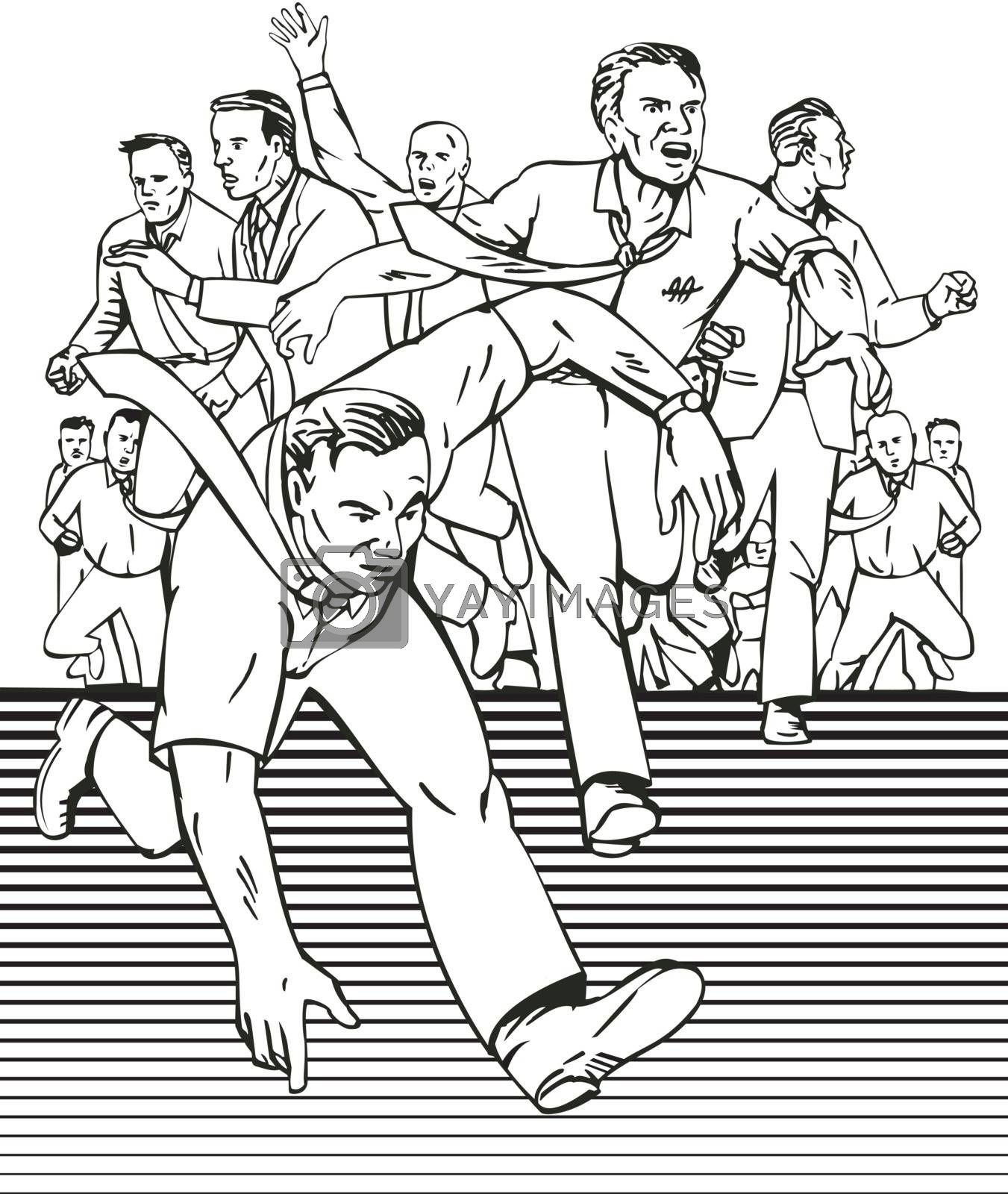 Illustration of people businessman mob running done in black and white set in white background done in retro style.