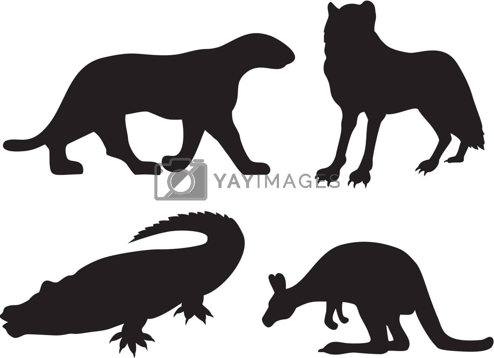 Illustration of wildlife animals silhouettes.