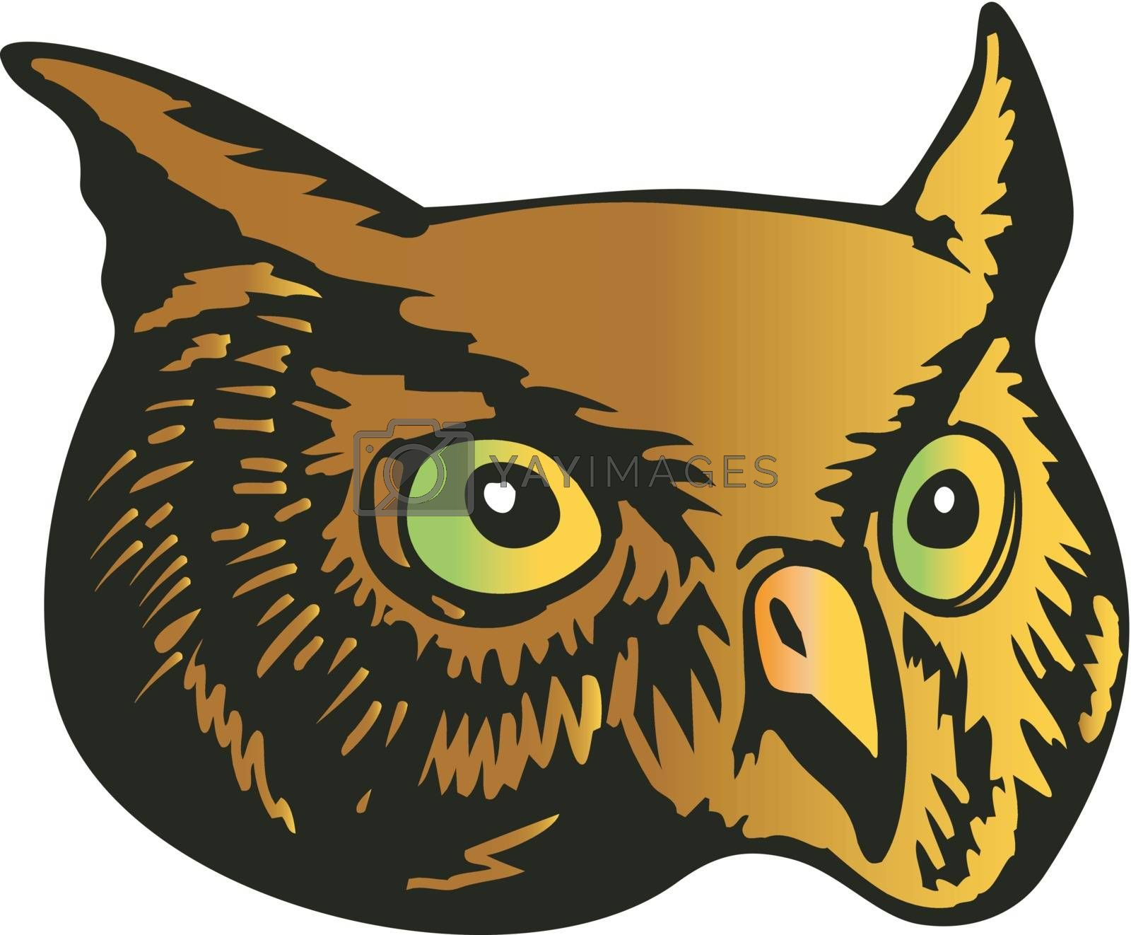 Illustration of an owl head done in retro woodcut style.